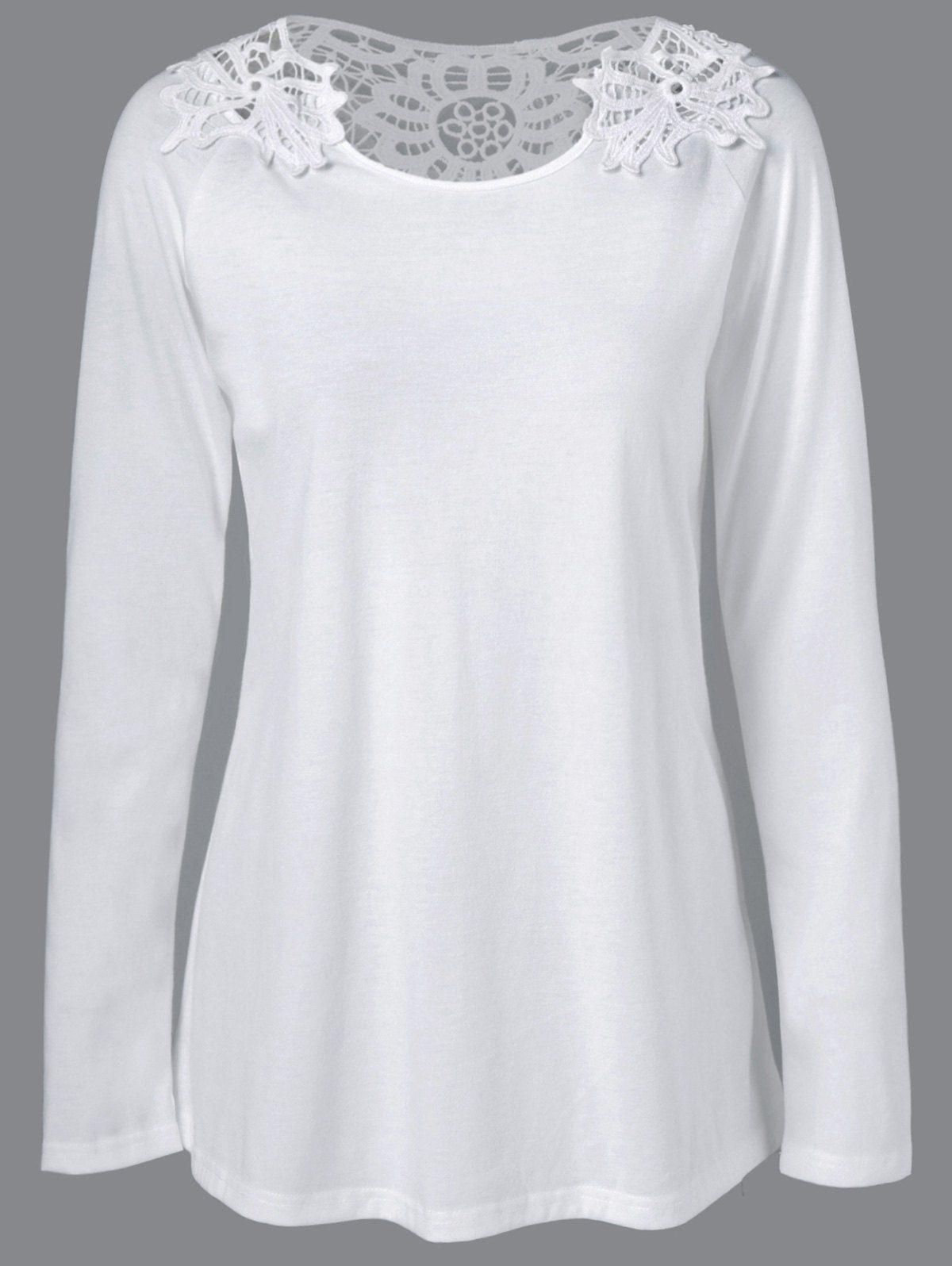 ee5c387aaf349 Openwork Design Raglan Sleeve T-Shirt
