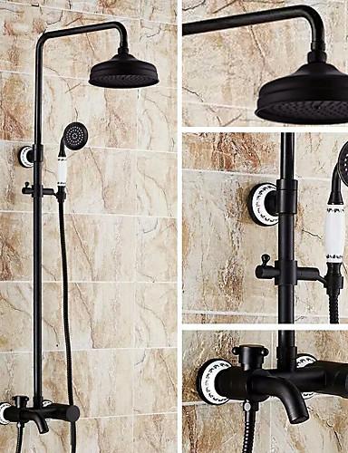 205 59 Shower Faucet Antique Oil Rubbed Bronze Centerset Ceramic Valve Bath Shower Mixer Taps In 2020 Bath Shower Mixer Taps Shower Faucet Shower Taps