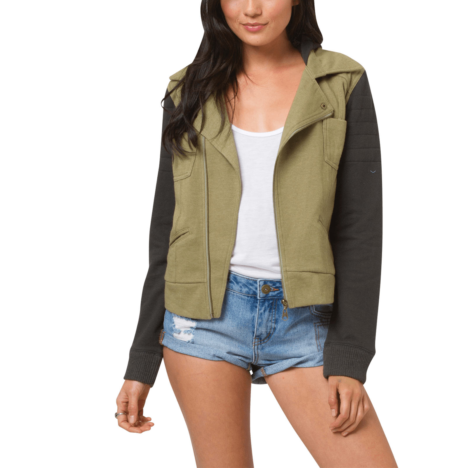 The Nitty-Gritty:The Quiet Down Jacket from Billabong has a short cut and a killer style that's perfect for everyday adventure. From The Brand:We've blended street-chic styling with a the classic look of a moto jacket to create the Quiet Down's subtly sophisticated appeal. Special details include color blocking, quilting details at the shoulders, and angled zip front, and a hood.