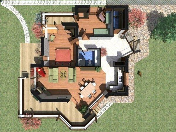 Casa con forma irregular y jard n planos y modelos de for Sims 2 mansiones y jardines