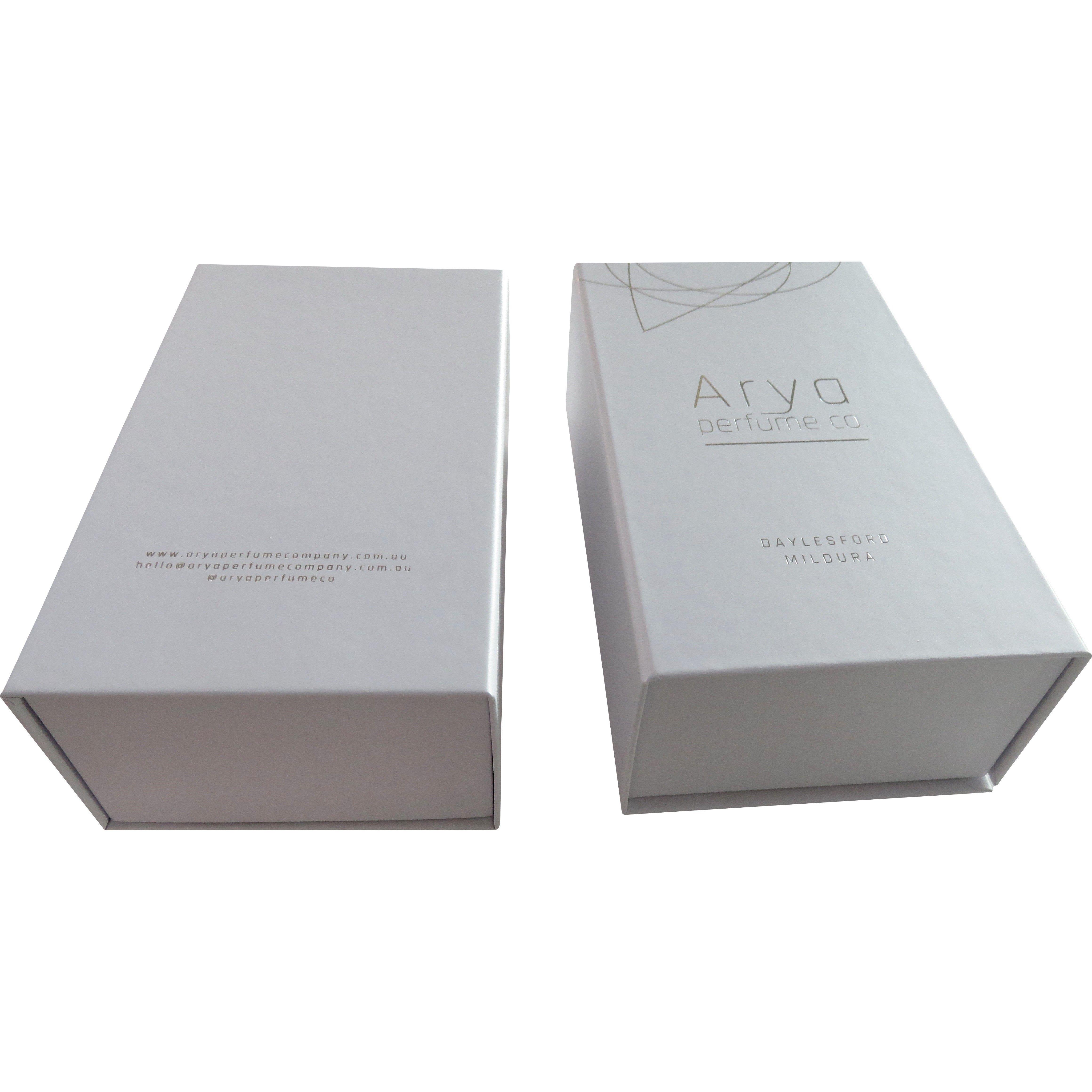 Luxury product packaging Rigid box white matte