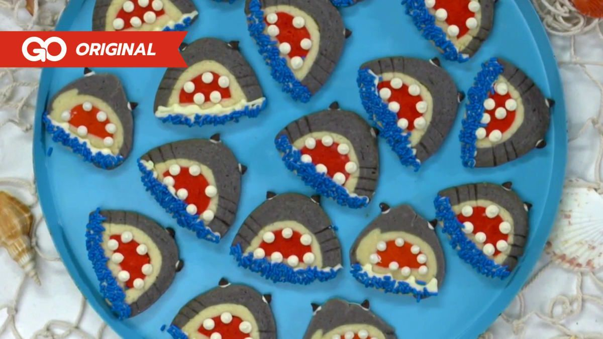 Shark Cookie #sharkweekfood Our friends at Food Network stop by to prep some Shark Week cookies perfect for your Shark Week premier party. Also, enjoy another edition of soaring sharks to some awesome music in this episodes Badass Breaches. #sharkweekfood
