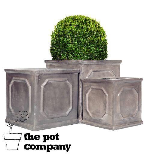 Fibreclay Faux Lead Garden Planters Chelsea Box Square Clay