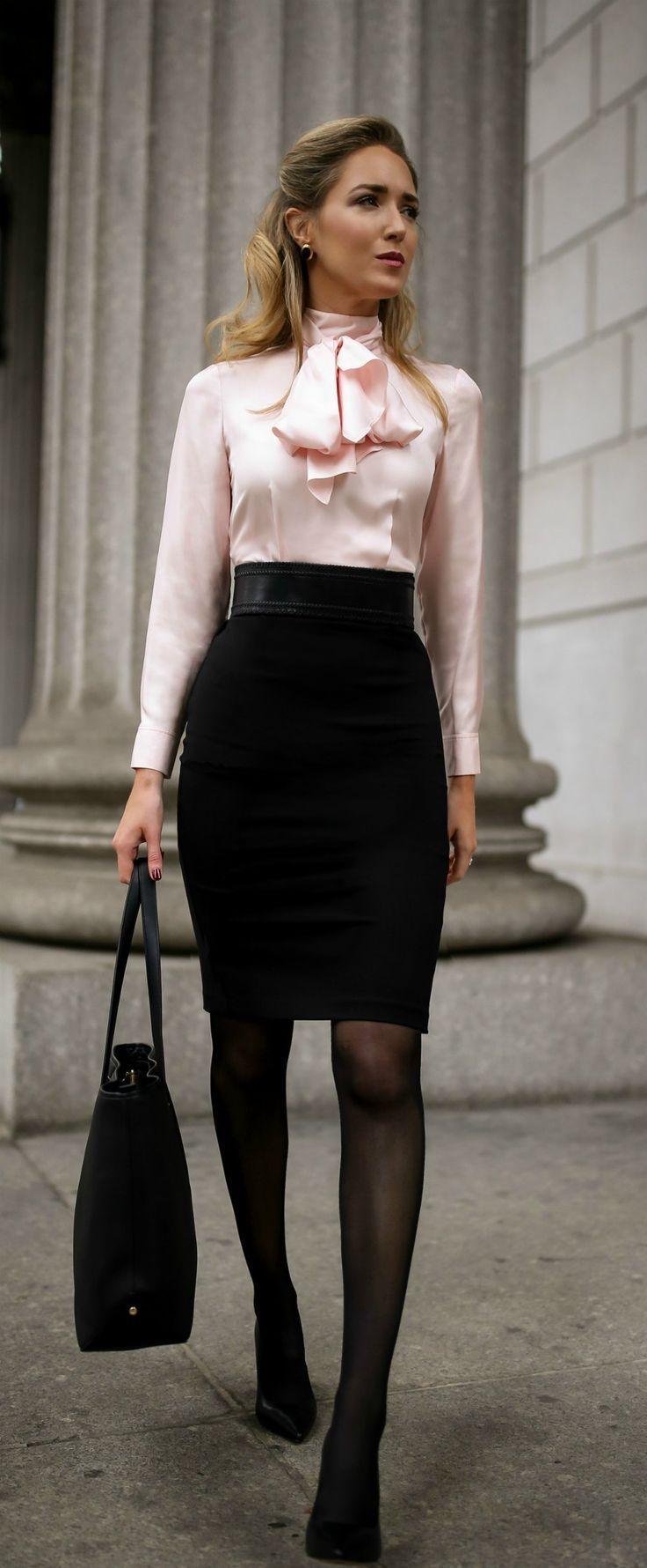 What To Wear To An Interview // Pink and black tie-neck two-toned sheath  dress, classic black pumps, black waist belt and a black leather work tote  {Ted ...