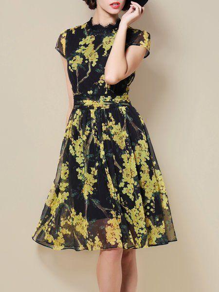 Shop Midi Dresses - Yellow Chiffon Short Sleeve Midi Dress online. Discover unique designers fashion at StyleWe.com.