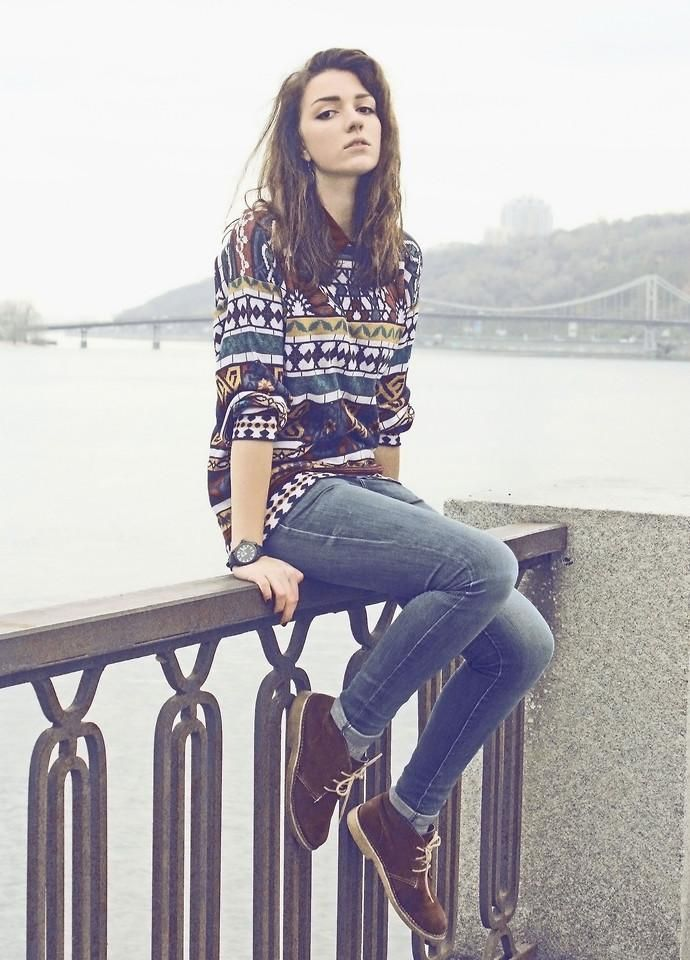 inpso: patterned sweaters:) and brown vintage- ish suede shoes    -sam