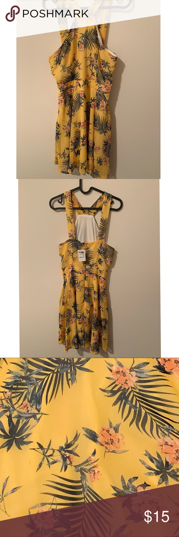 "Lovely dress. It has a very  ""Florida"" feel. NWT. Charlotte Russe short sundress, yellow with flowers. Very tropical. Size Medium. Charlotte Russe Dresses Mini #shortsundress"