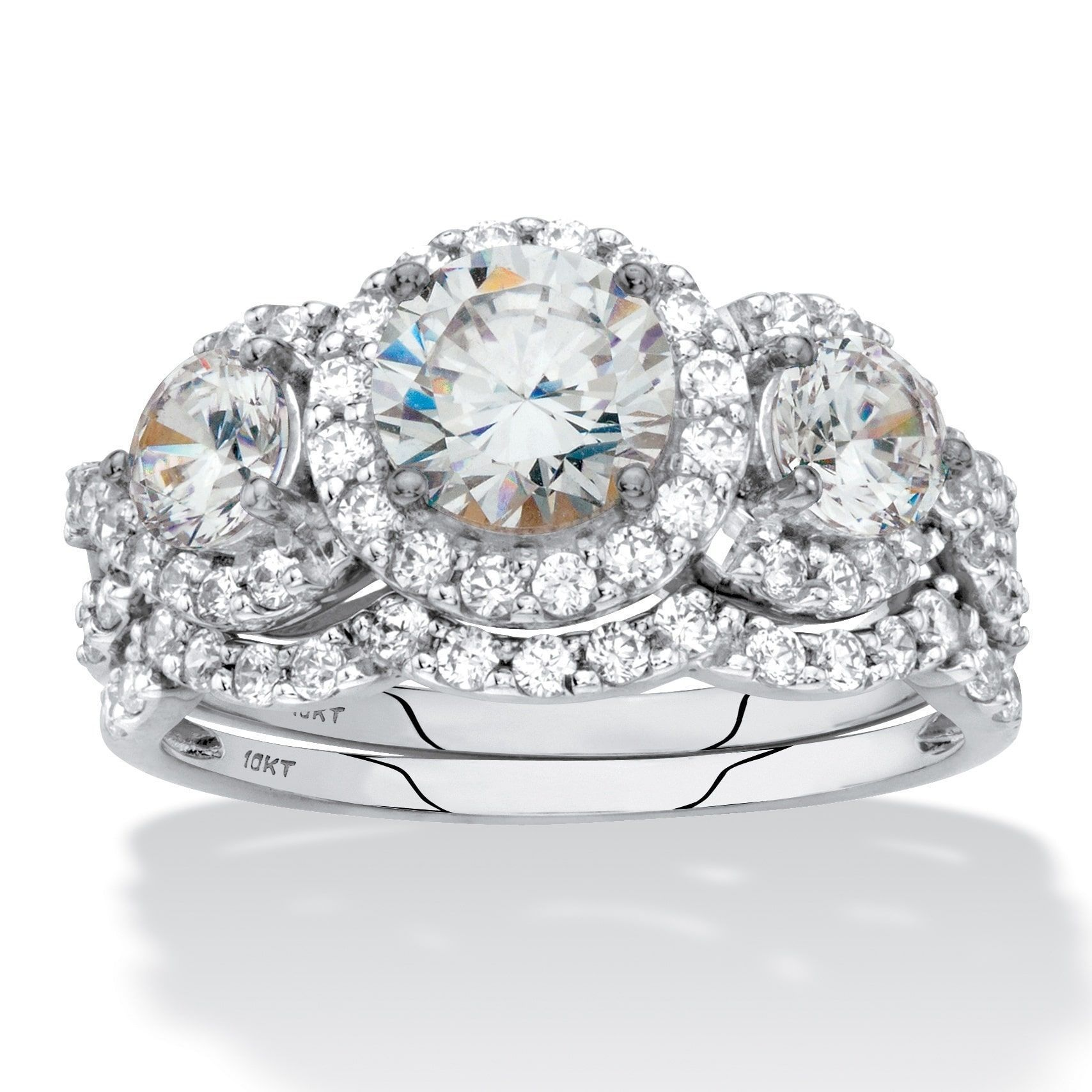 Merveilleux Palm Beach Jewelry Round Cubic Zirconia 2 Piece Triple Halo Wedding Ring  Set 2.95 TCW