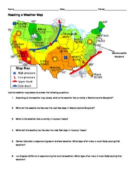 NGSS MS./HS. Weather and Climate: Reading a Weather Map ...