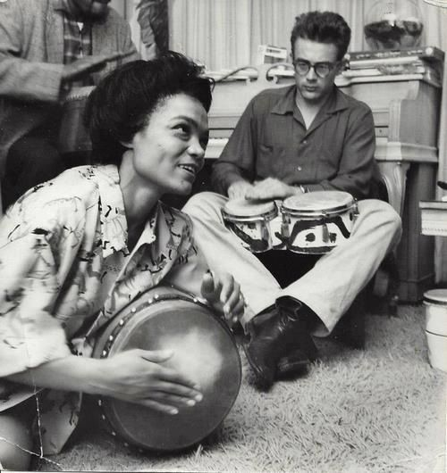 Eartha Kitt and James Dean play some bongos.