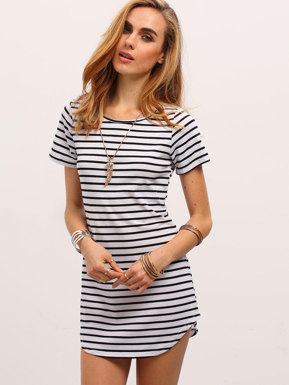 891b6b964a Shop Black White V Neck Striped Slim Dress online. SheIn offers Black White  V Neck Striped Slim Dress   more to fit your fashionable needs.