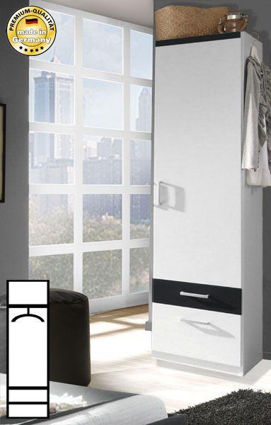 Kleiderschrank Garderobenschrank weiß / schwarz 1-türig 48cm Neu