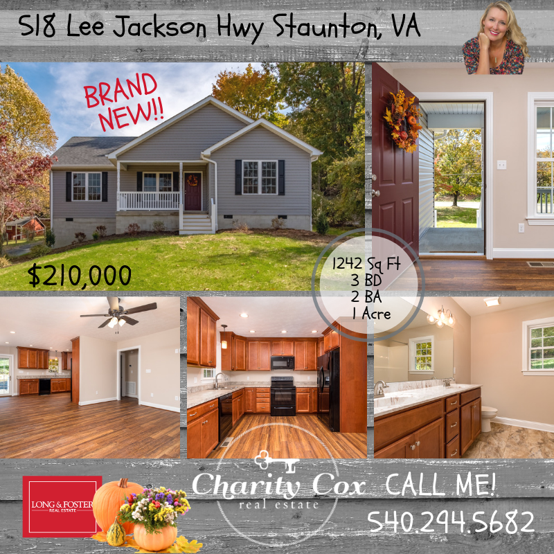 Sold 518 Lee Jackson Hwy Staunton Va Brand New Gorgeous Home Offering One Level Living Open Floor Plan And A Staunton Land For Sale Home Buying