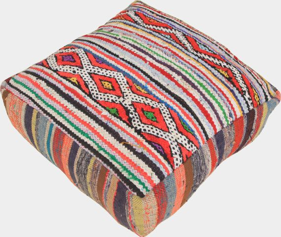 Moroccan Vintage Floor Cushions / Made From Hand Woven
