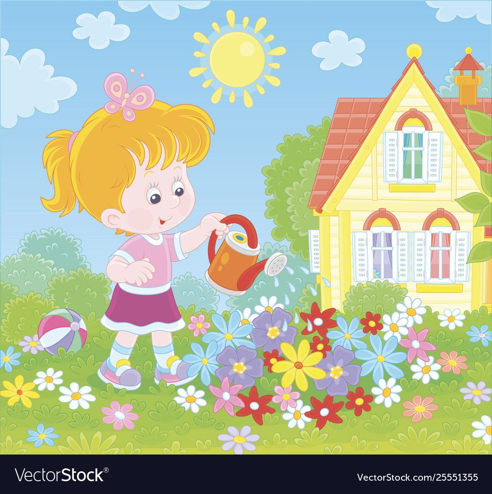 Little girl watering flowers on a flowerbed vector image