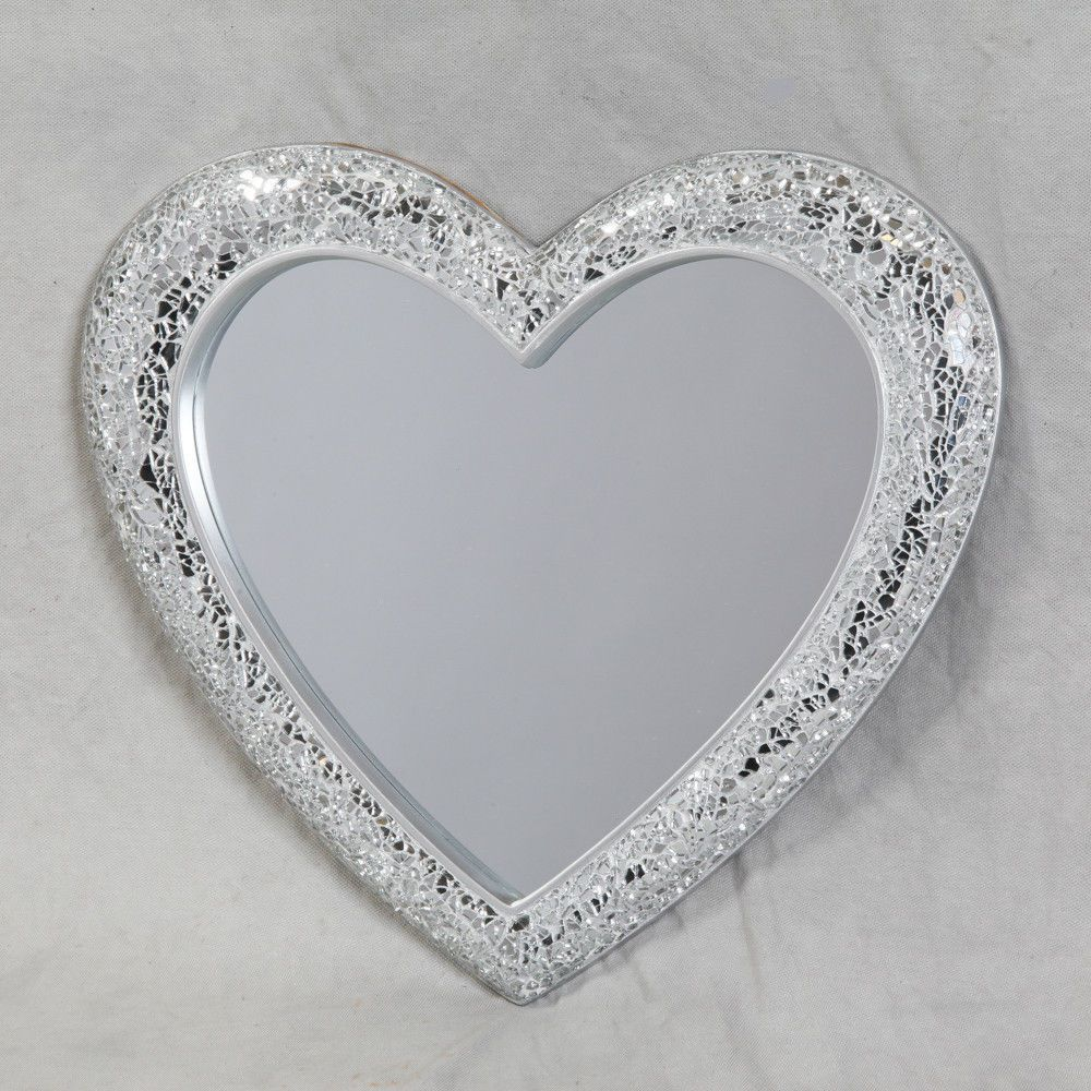 Contemporary Silver Heart Crackle Mosaic Glass Wall Mirror 41cm Home Decor In Home Furniture Diy Home Decor Mirrors Heart Mirror Glass Heart Mosaic Glass