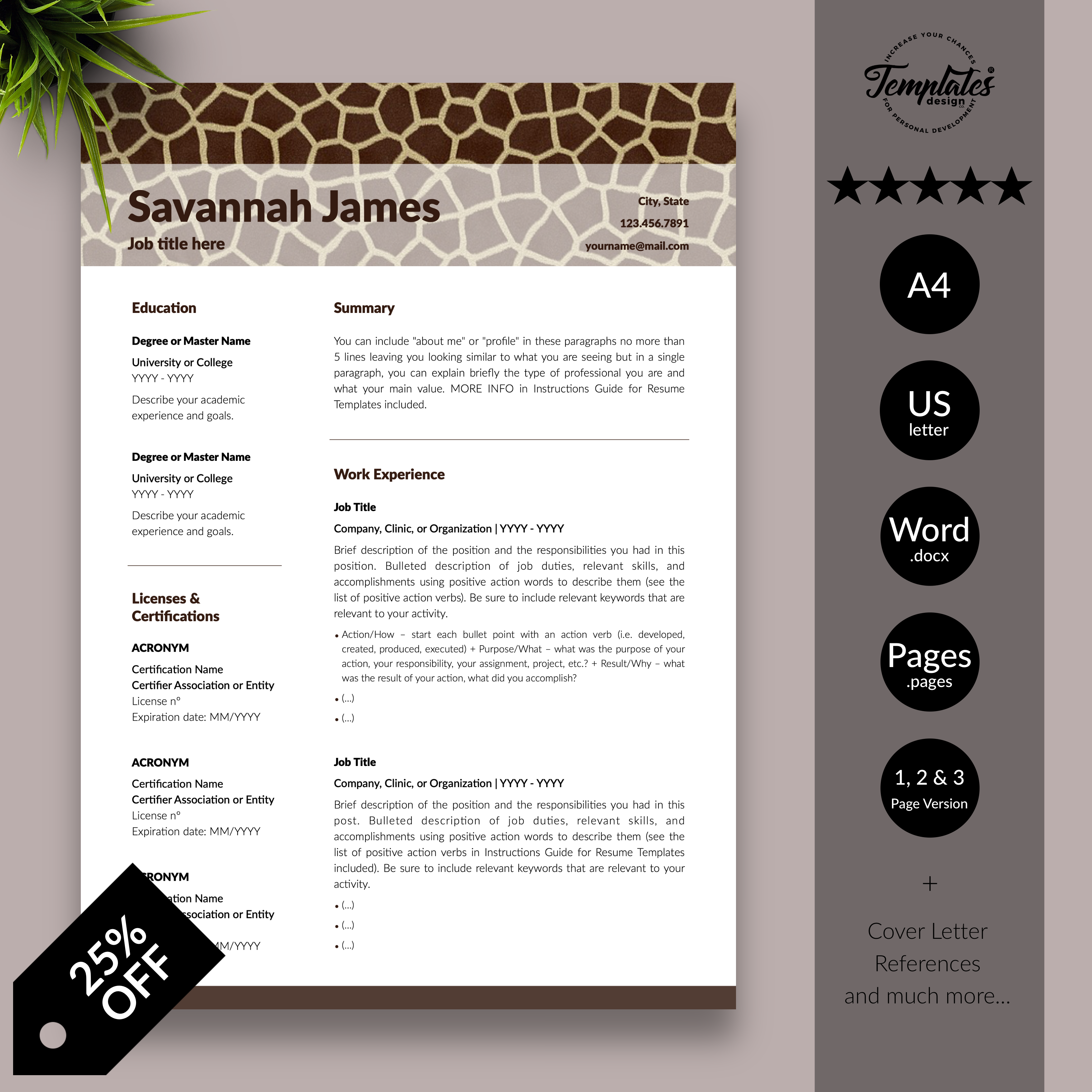 Zoologist Resume Template for Word & Pages / Animal Care