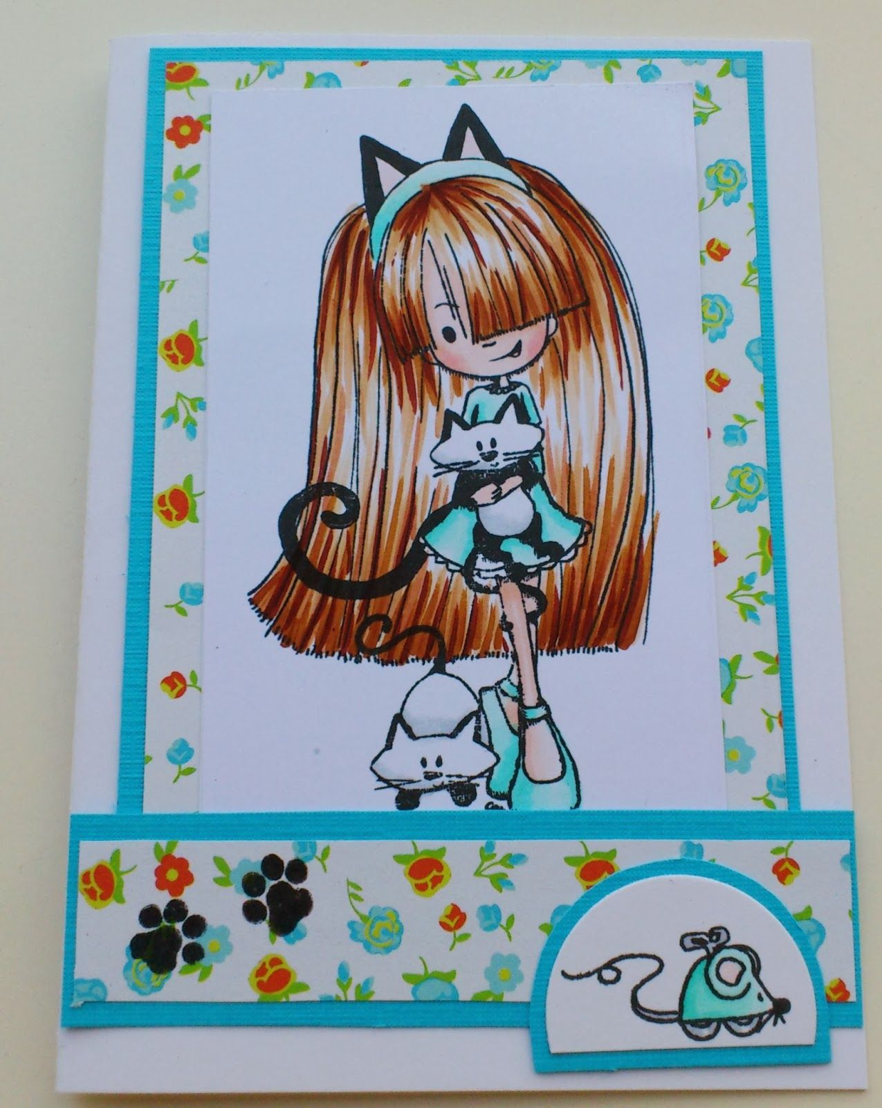 Made by Maroeska - Cat stamp from Tiddly Inks. Colored with copics.