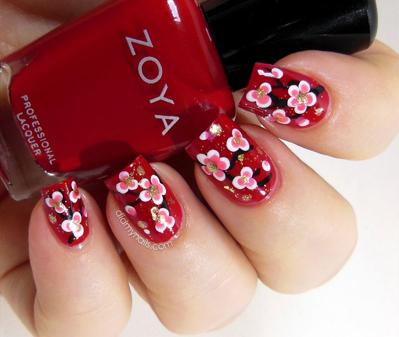 Chinese New Year nail art flowers | Nail Designs | Pinterest | Nail ...