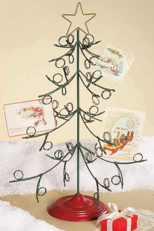 standing metal christmas tree card holder from creative coop