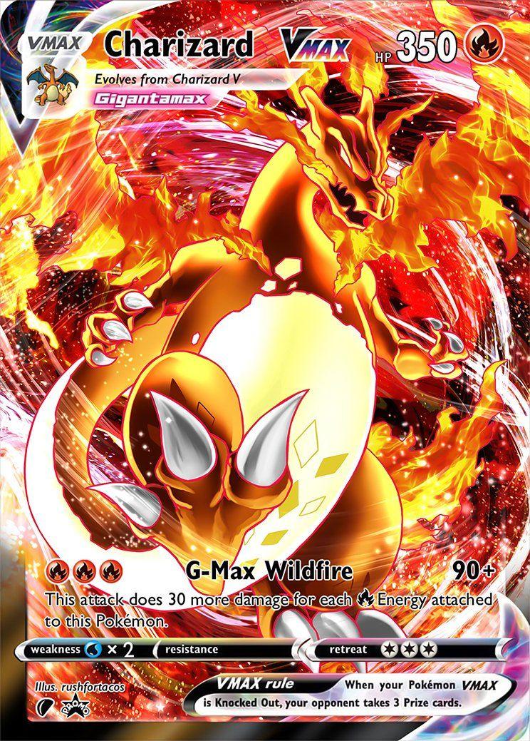 Charizard Vmax Dynamax Custom Pokemon Card Pokemon Tcg Cards Pokemon Cards Legendary Rare Pokemon Cards