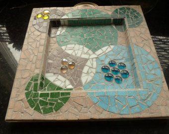 Items similar to mesa  hecha a mano en mosaico de vidrio de vitral. on Etsy
