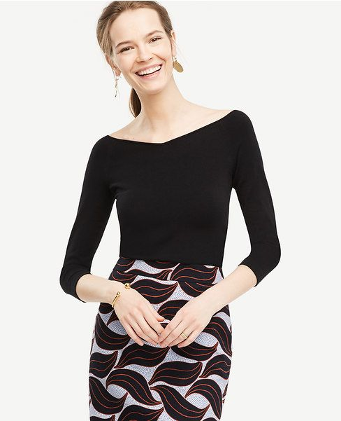 Primary Image Of Double V 3 4 Sleeve Sweater Ann Taylor
