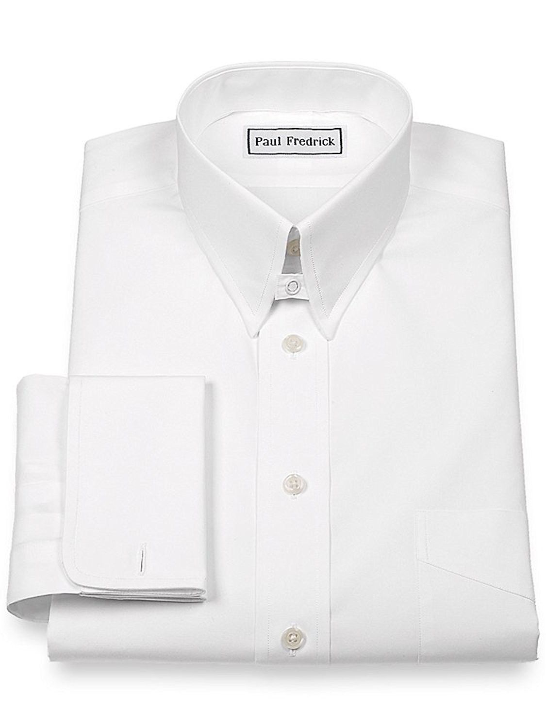 Mens Slim Fit Cotton Snap Tab Collar French Cuff White