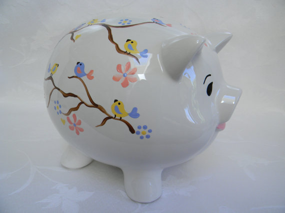 Piggy bank hand painted piggy bank personalized piggy bank  Show some love and RePin!