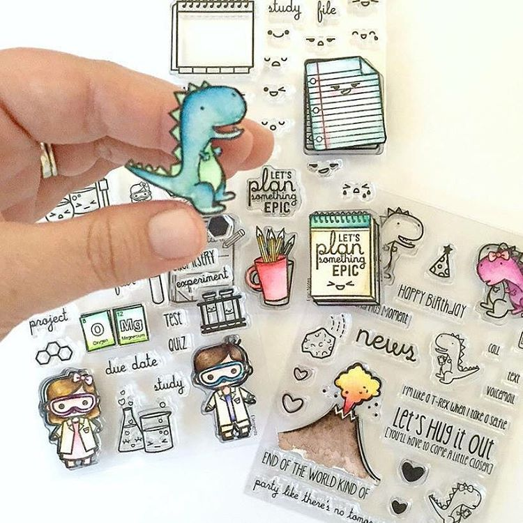 Colored images created with the Sweet Stamp Shop Elements, T Rex Hugs and Epic Notes stamp sets