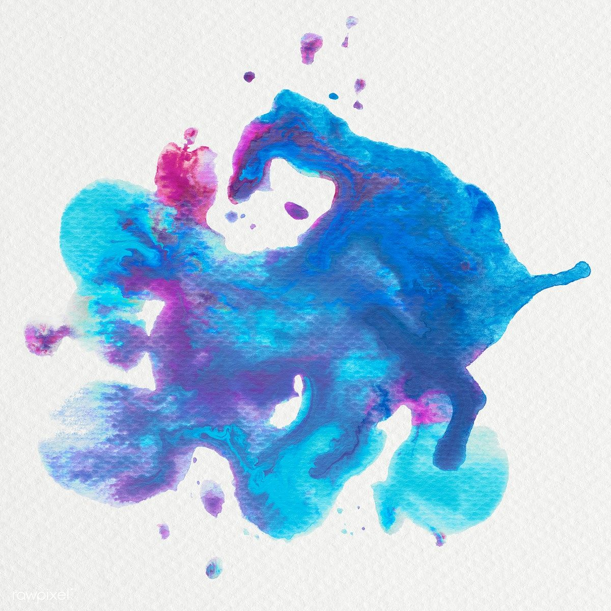 Abstract Blue And Pink Watercolor Splash Illustration Free Image