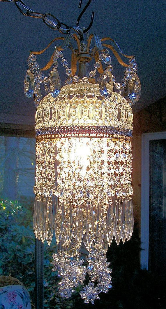 Jeweled Vintage Crystal Waterfall Chandelier by sheriscrystals, A Perfect addition for my Garden Cottage~ ;)