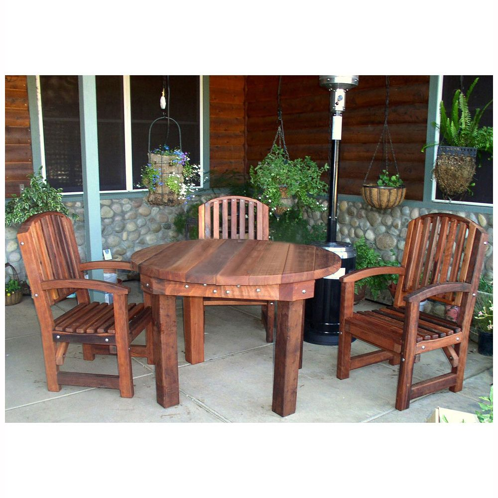 Redwood Outdoor Round Patio Table By Forever Redwood Outdoor