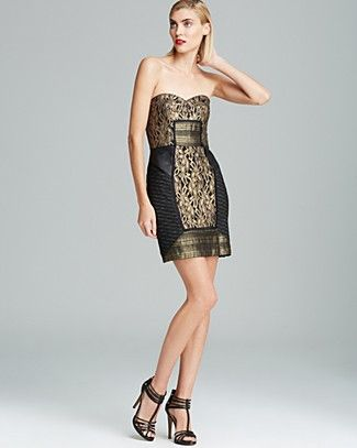 de378aa3 Nicole Miller Strapless Metallic Lace Dress | Bloomingdale's ...