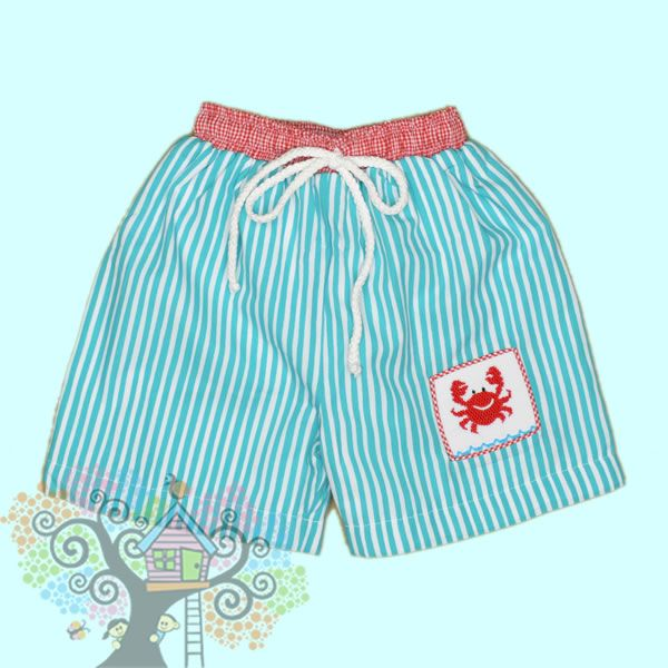 Crab Smocked Swim Trunks Matching Sibling Outfits And