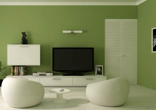 Freen Wall Living Room Painting Ideas With White Rounded Chair And Small  Table Using Black Tv Also Ceramic Flooring Design Home For You Of Modern  Living ...