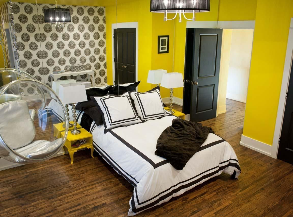 Bedroom colors yellow - Girls Bedroom Amazing Colorful Teenage Girl Bedroom Ideas With Yellow Walls And Big Mirror Walls White Beds With Black Lines Details Cool Transperant
