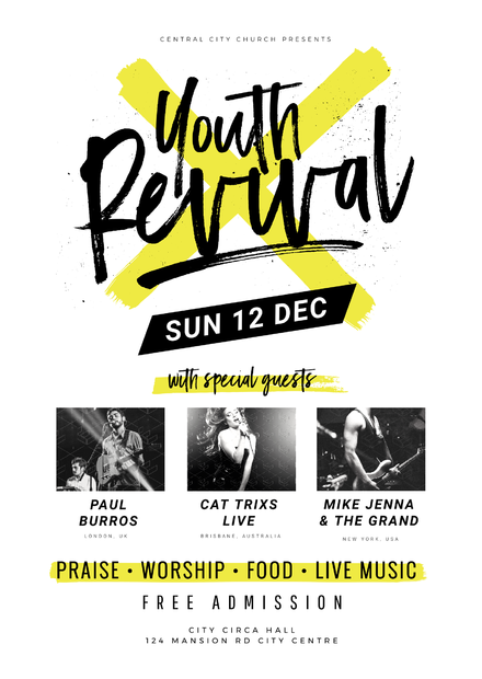 youth revival church event template on graphic design flyer