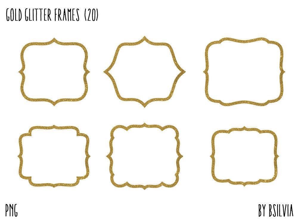 Gold Glitter Frame Clipart, Gold Glitter Border Clipart, Digital ...