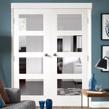 Shaker white primed 4 panel bifold door safety glass doors and shaker 4 pane white primed door pair with clear safety glass planetlyrics Gallery