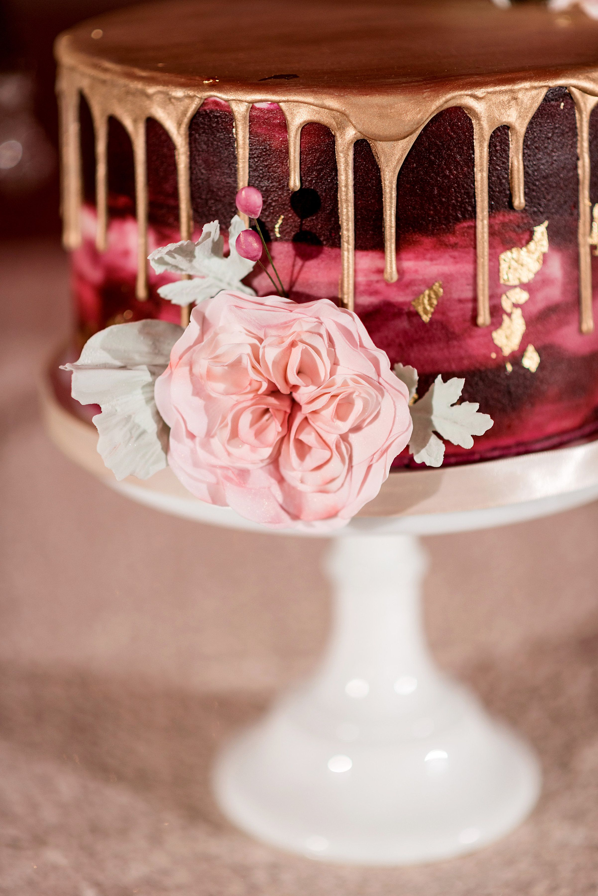 Water Color Ercream Cranberry Sugar Flower Cabbage Rose Wedding Cake Gold Leaf Drizzle Lemon Display Photo By