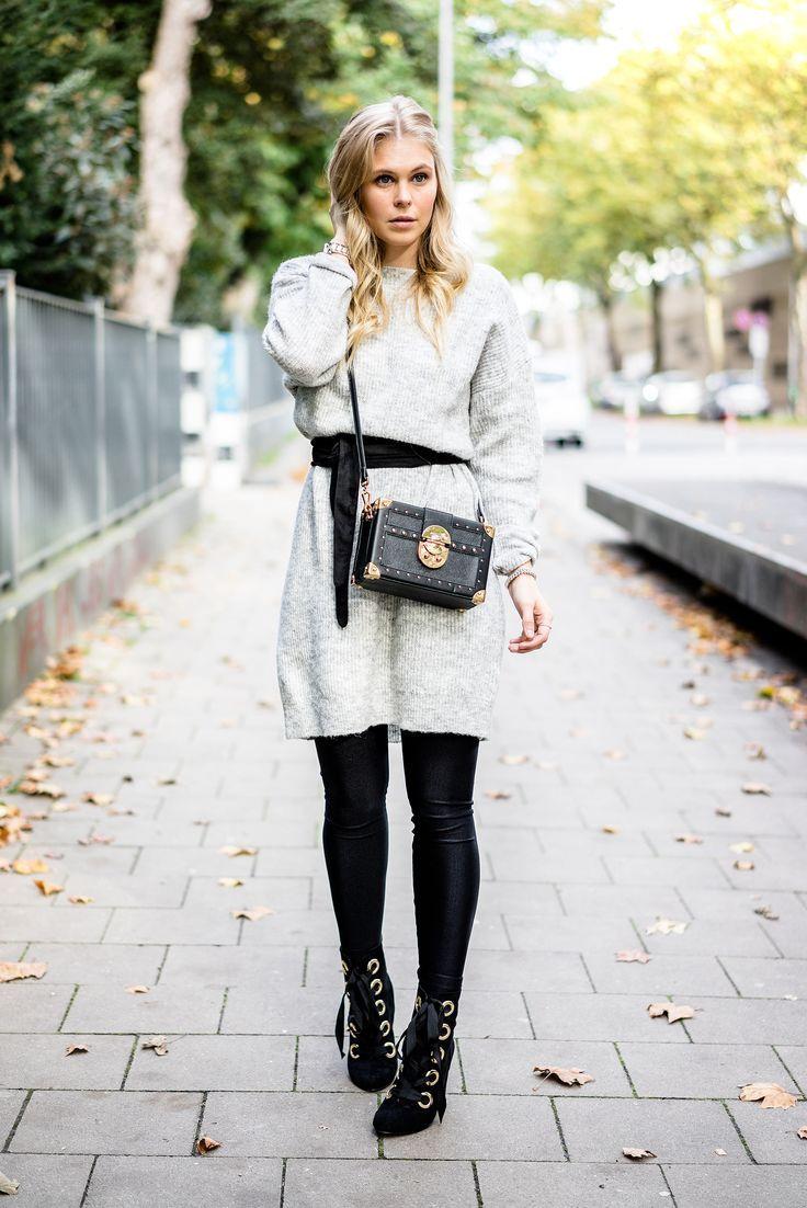 Strickkleid Outfit für den Herbst Fashion Blogger