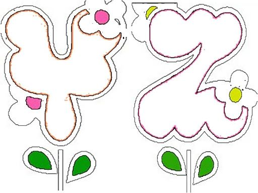 Moldes de letras de flores abecedario pinterest - Letras para adornar ...