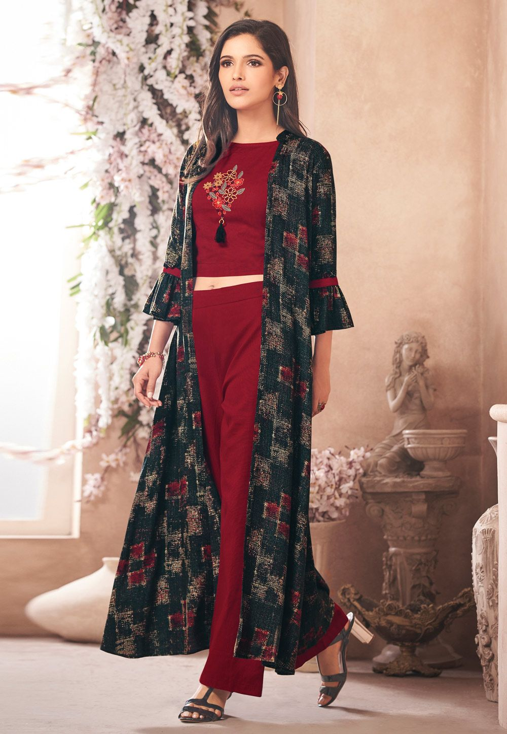 d9efbabc1a Buy Maroon Rayon Readymade Palazzo Suit With Jacket 157560 online at lowest  price from huge collection of salwar kameez at Indianclothstore.com.