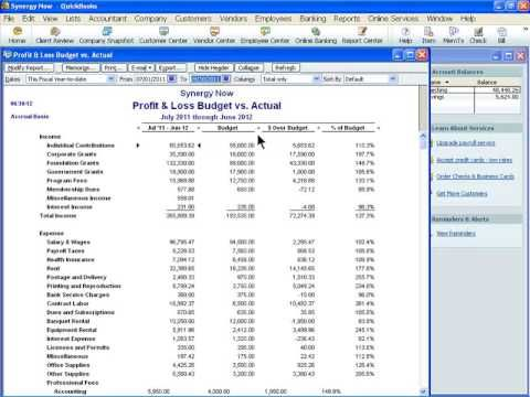 QuickBooks Made Easy for Non-Profits - version 2012 - Creating - sample non profit budget