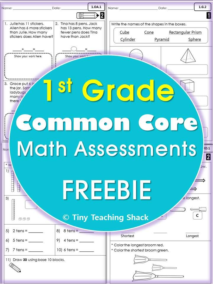 1st Grade 1st grade algebra worksheets : 1st grade common core math assessments FREE Operations and ...