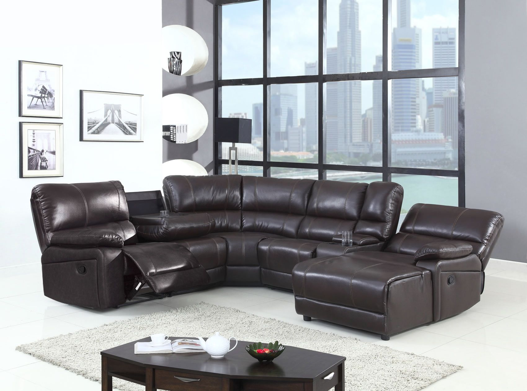Ur 9342 Modern Brown Leather Gel Recliner Sectional Sofa