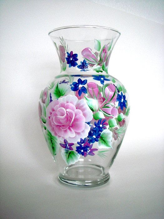 Hand Painted Glass Vase With Pink Roses One Stroke On Glass