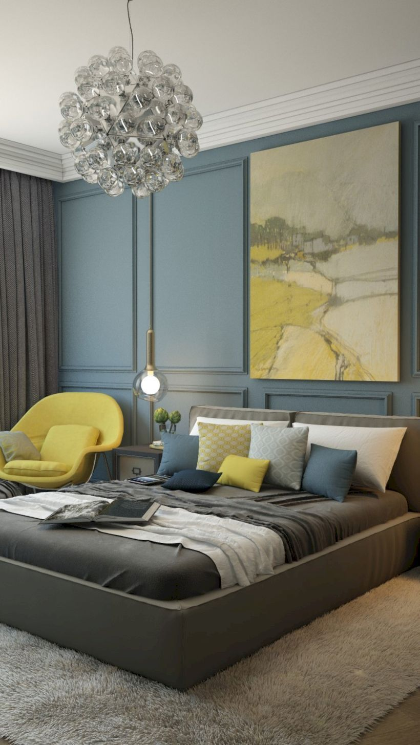 visually pleasant yellow and grey bedroom designs ideas grey