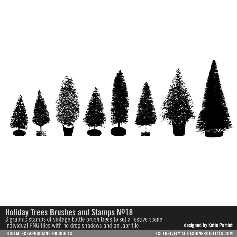 Holiday Trees No 18 Brushes And Stamps Bottle Brush Tree Stamps For Card Making And Scrapbooking Png And Ab Tree Stamp Bottle Brush Trees Digital Scrapbooking